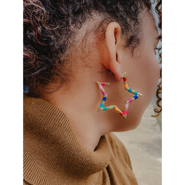 C11 Multi Gold Star Shaped Earrings