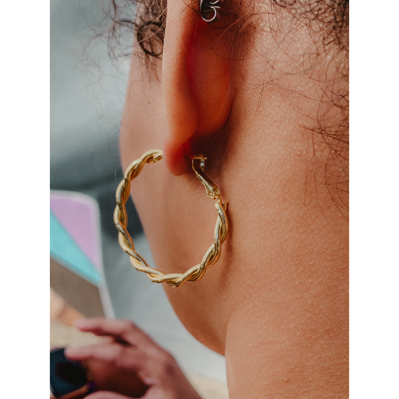 C1 Gold Braided Mini Hoop Earrings