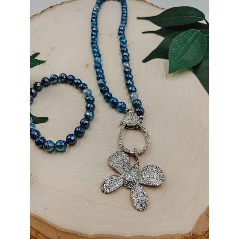 D7 Mystic Blue Necklace w/ Silver Butterfly Charm Set