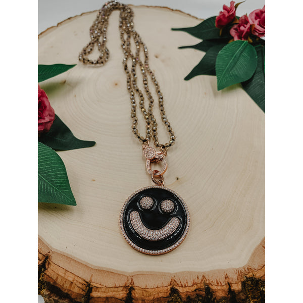D25 Brown Necklace w/ Smiley Face Charm