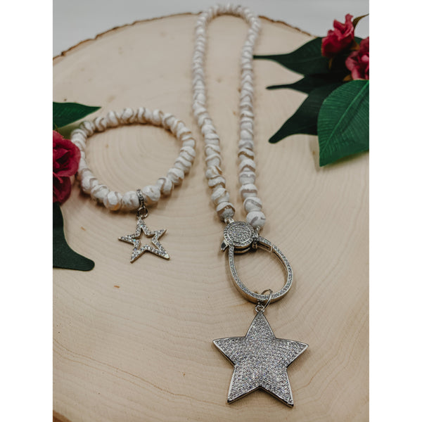 D53 White Waveline Agate Necklace Set w/ Star Charm