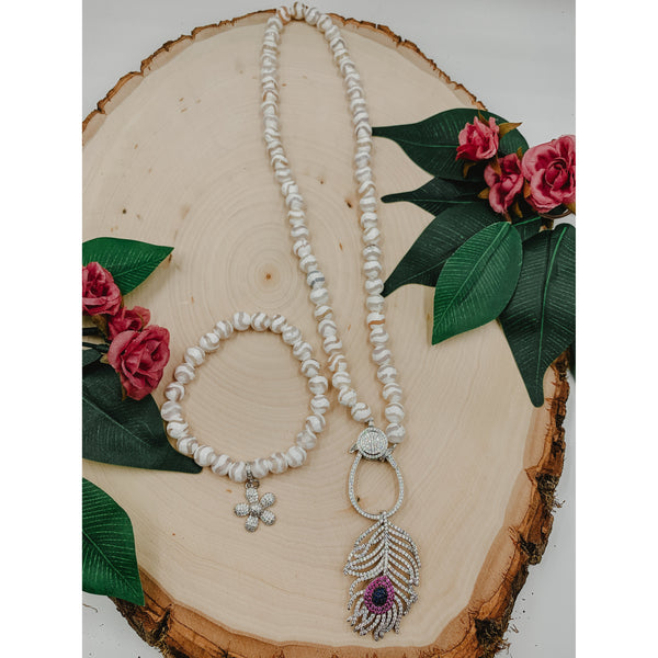 D52 White Waveline Agate Necklace Set