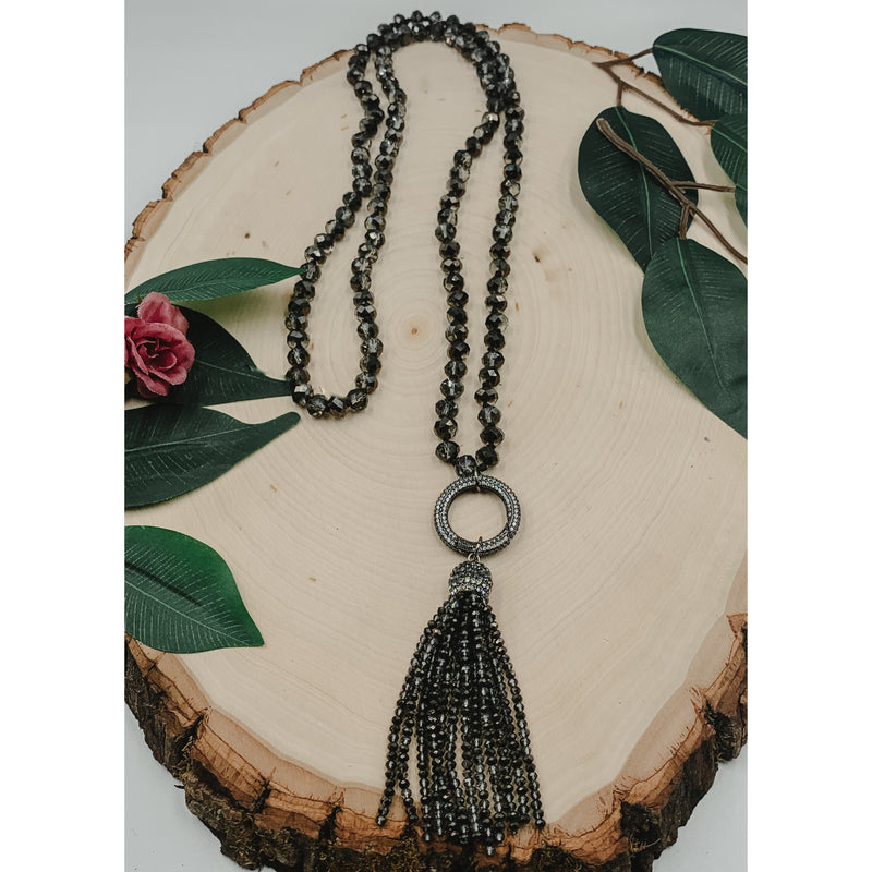 D41 Smokey Necklace w/ O Ring Clasp & Tassel