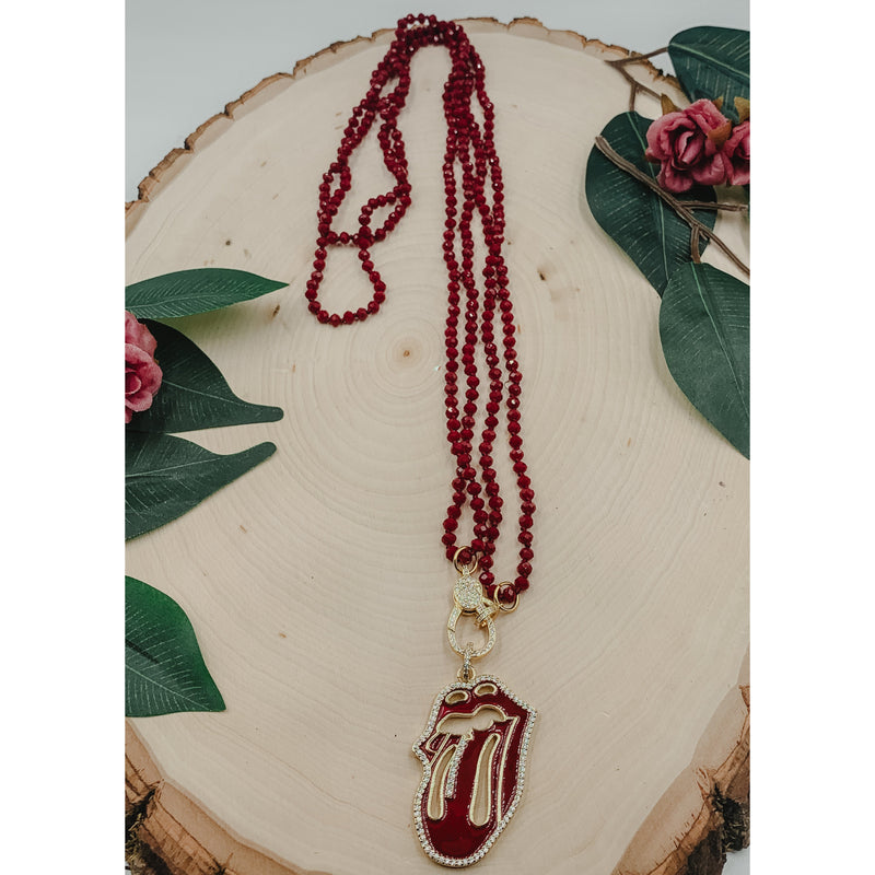 D34 Red Necklace w/ Tongue Pendant