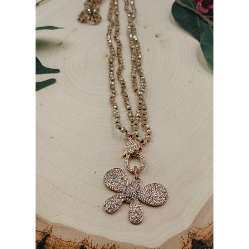 D45 Gold Butterfly Necklace w/ Pink Butterfly Charm