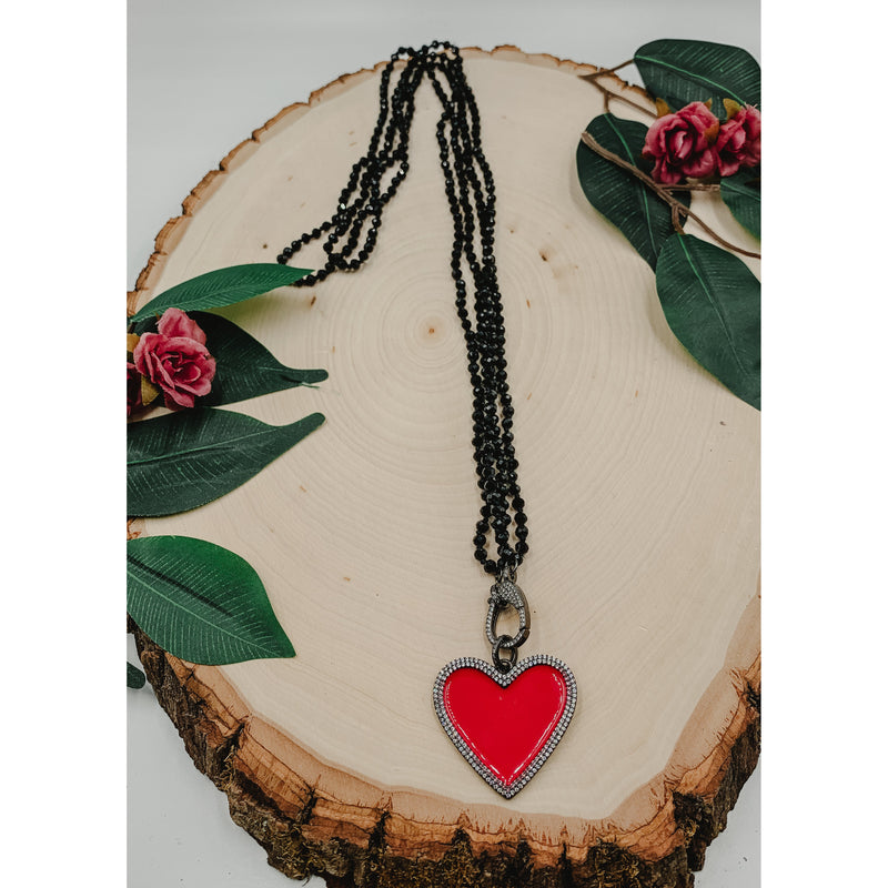 D42 Black Necklace w/ Red Heart Pendant