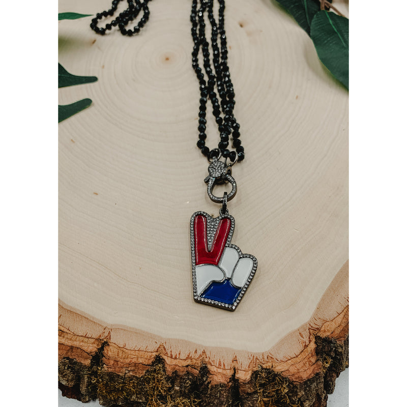 D28 Black Necklace w/ Peace Hand Charm