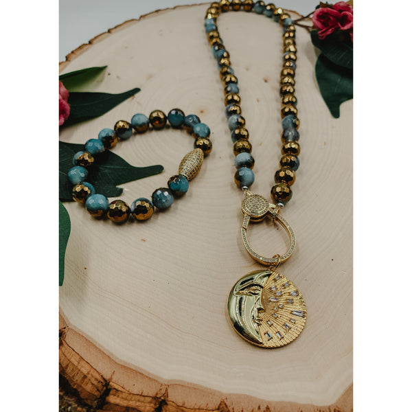 D65 Blue Gold Half Plated Agate Necklace w/ Sun & Moon Charm