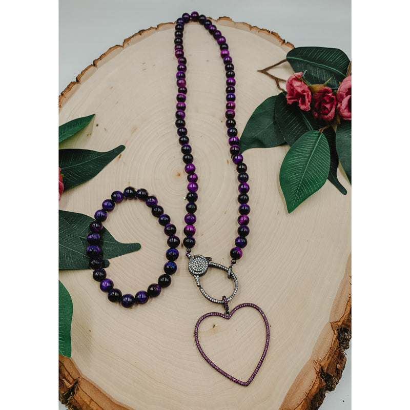D15 Purple Tiger Eye Necklace w/ Outline Heart Charm Set