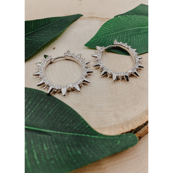 D57 Silver Spike Earrings