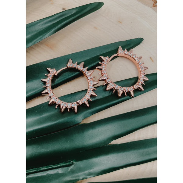 D67 Rose Gold Spike Earrings
