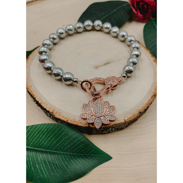 D61 Silver Grey w/ Rose Gold Lotus Flower Charm & Clasp