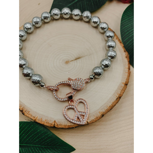 D62 Silver Grey w/ Rose Gold Peace Heart Charm & Clasp