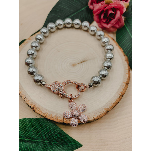 D60 Silver Grey w/ Rose Gold Flower Charm & Clasp