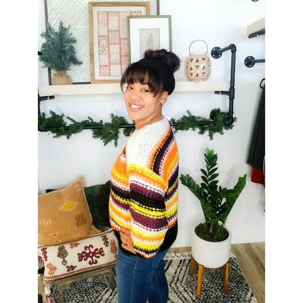 458 Ivory Striped Knit Sweater*