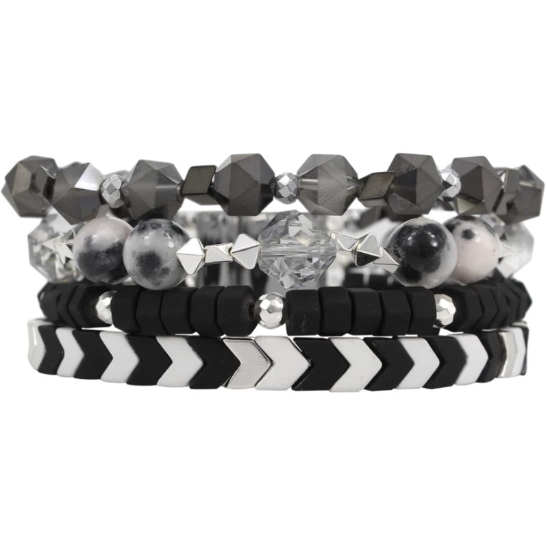 E55 Black & White Tribal Cuff
