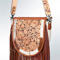 H126 Tan/White Cowhide Print Embroidered Genuine Leather Handbag