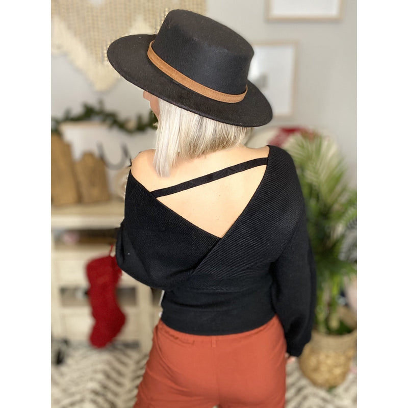 529 Black Soft Knit Wrap Sweater