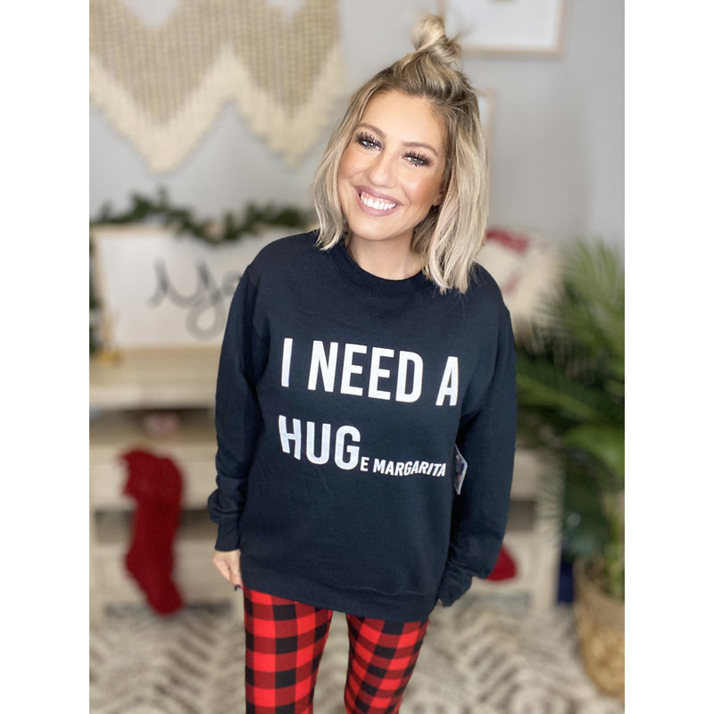 942 Black I Need A Huge Margarita Graphic Sweatshirt