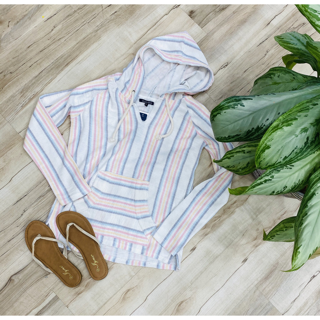 719 Pastel Vertical Design Hooded Sweater