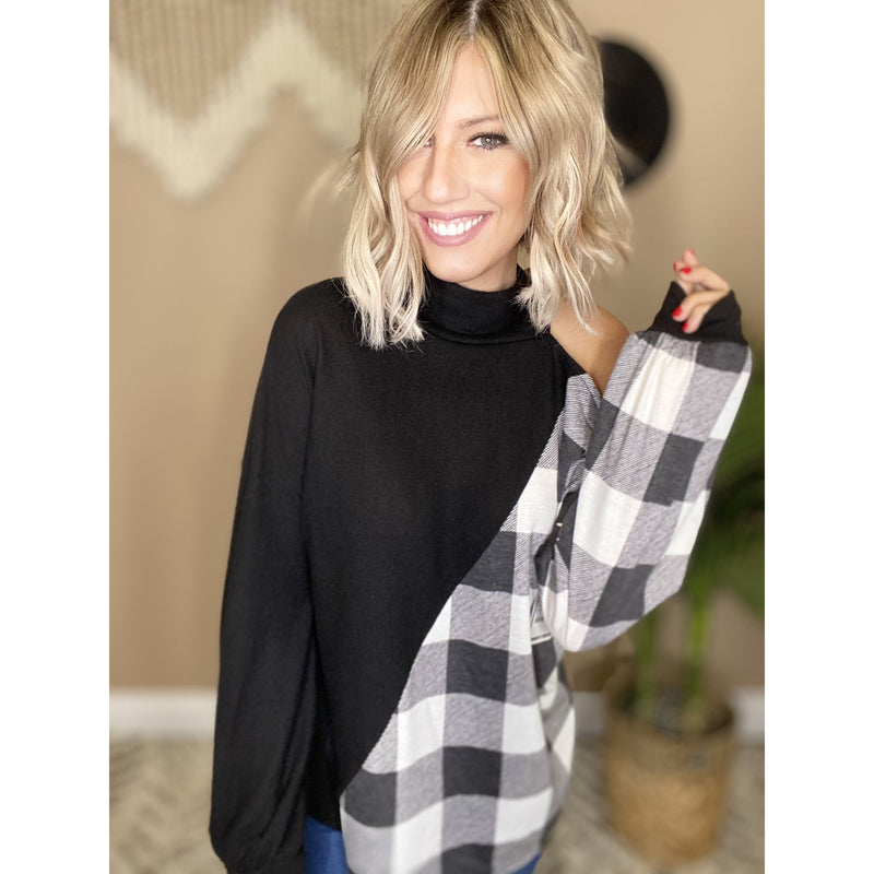 615 ONE ON THE RUN BLACK PLAID HIGH NECK TOP
