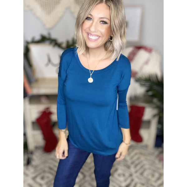 285 Teal Open T-Back Tunic Top*