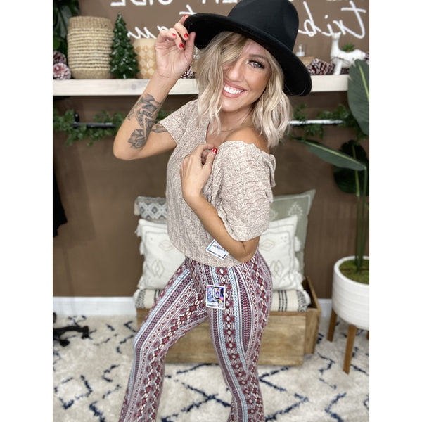 202 Cranberry Stretch Aztec Printed Bell Bottoms