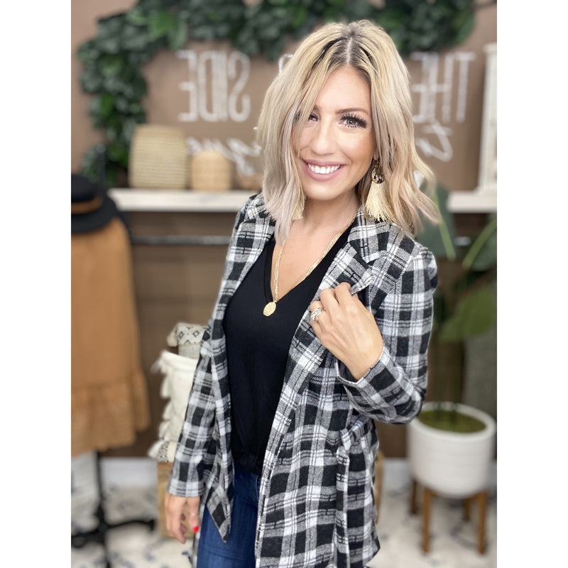 647 Black Plaid Flannel Long Sleeve Open Front Jacket