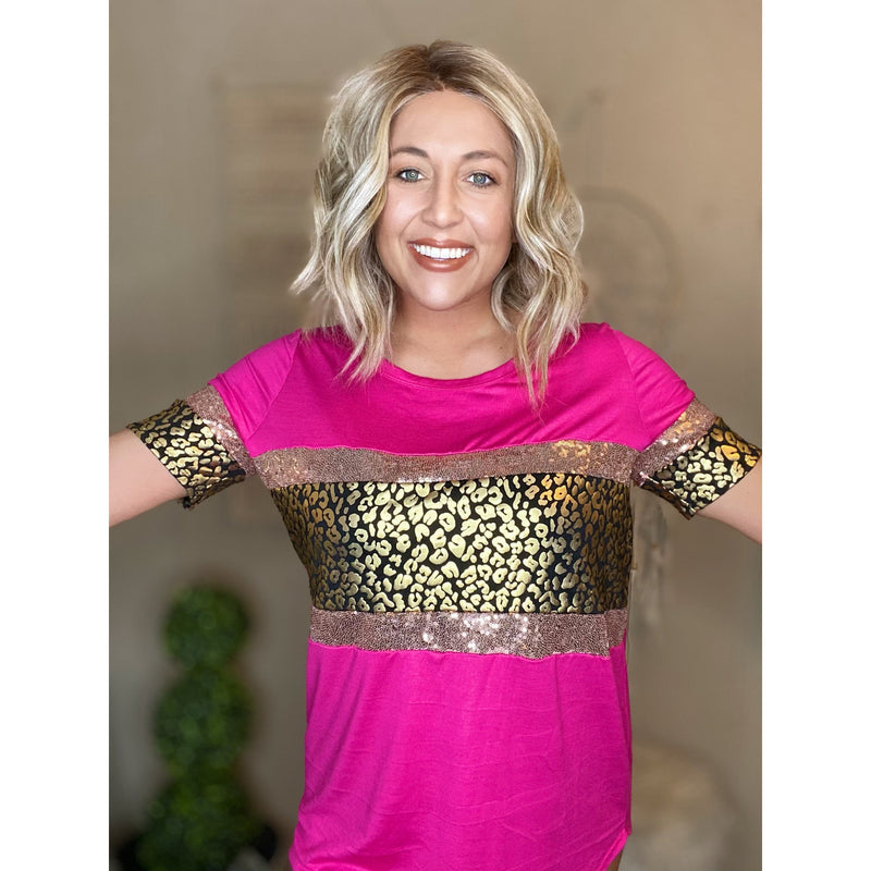 91 Fuchsia/Gold Jersey Knit Top With Leopard Foil Print and Sequins Block Front Sleeves