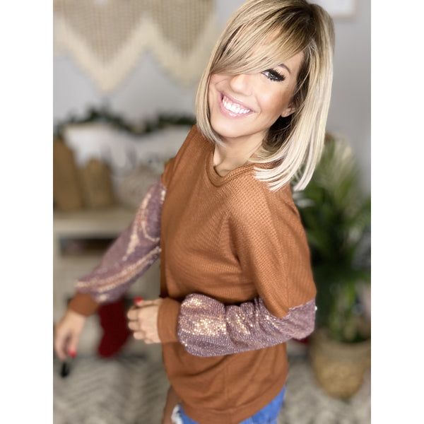 11 Rust Soft Knit Top w/ Sequin Sleeve Contrast*