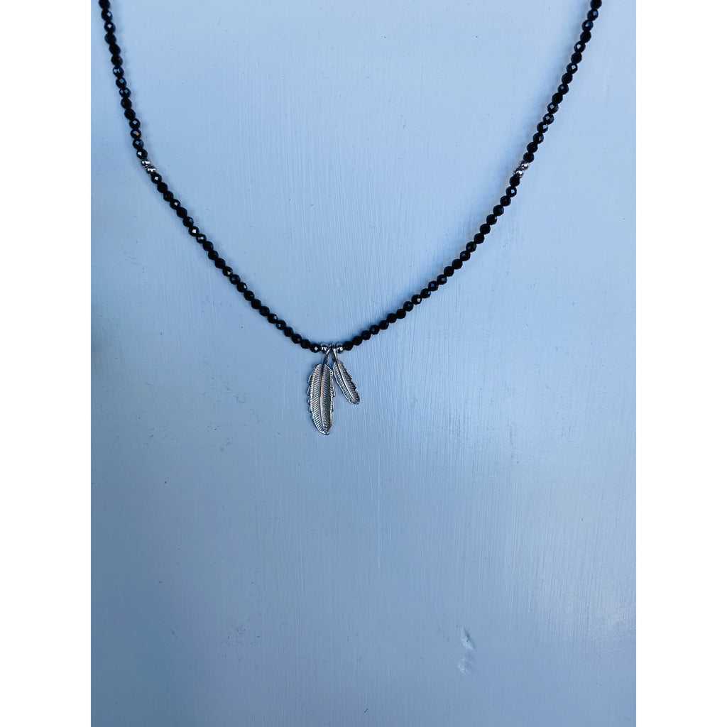 Black Onyx & Silver Double Feather Adjustable Necklace