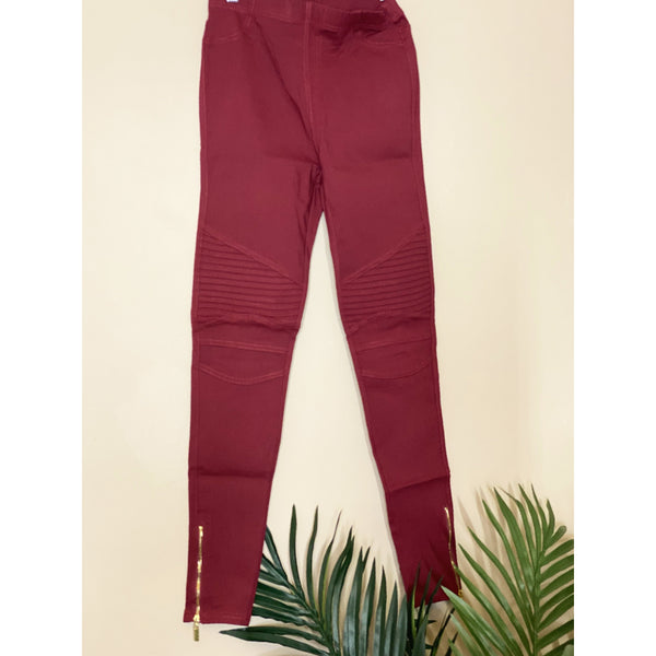 791 BURGUNDY STRETCH MOTO LEGGING PANTS