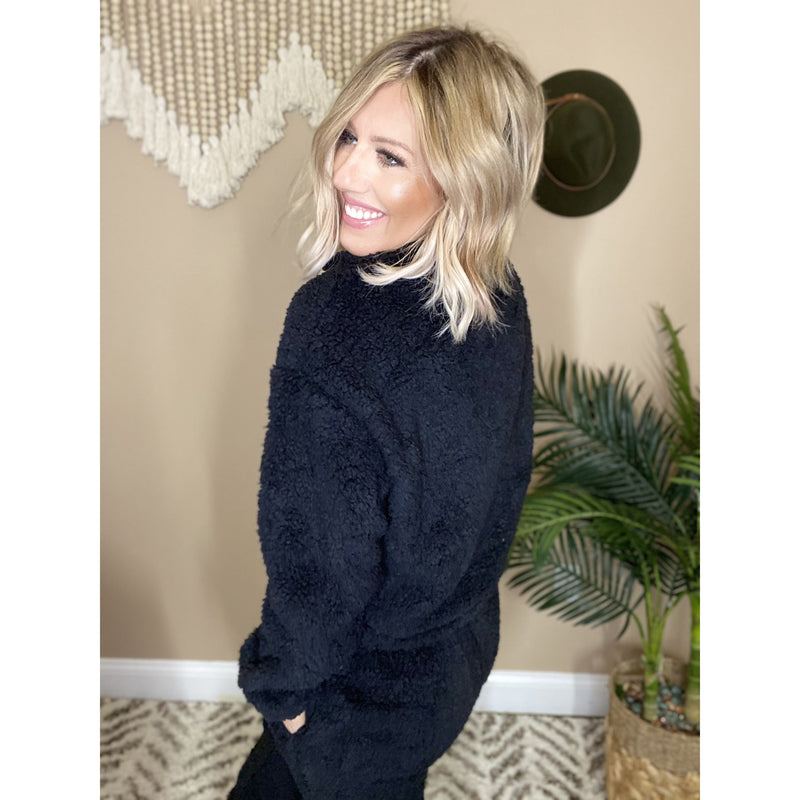 678 COZY AS A TEDDY BLACK PULLOVER SWEATER PANTS SET