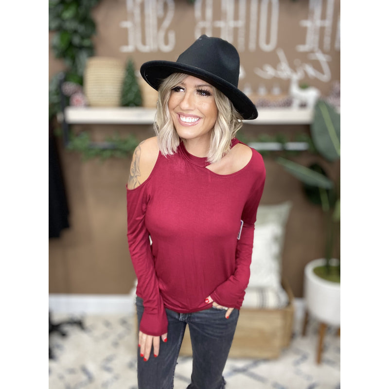 765 Wine Solid Cut Out Cold Shoulder Blouse