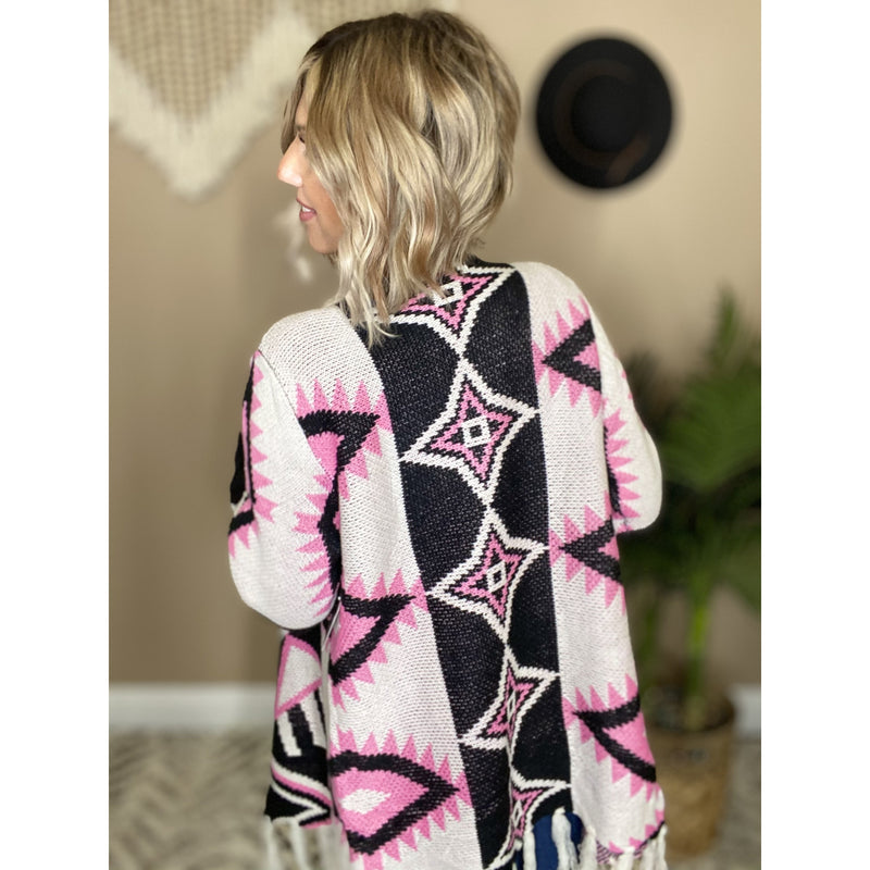 627 WILD CHILD IVORY KNITTED AZTEC CARDIGAN