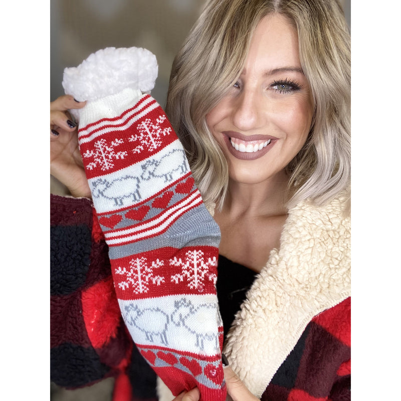103 Red & White Sherpa Reindeer Christmas Socks