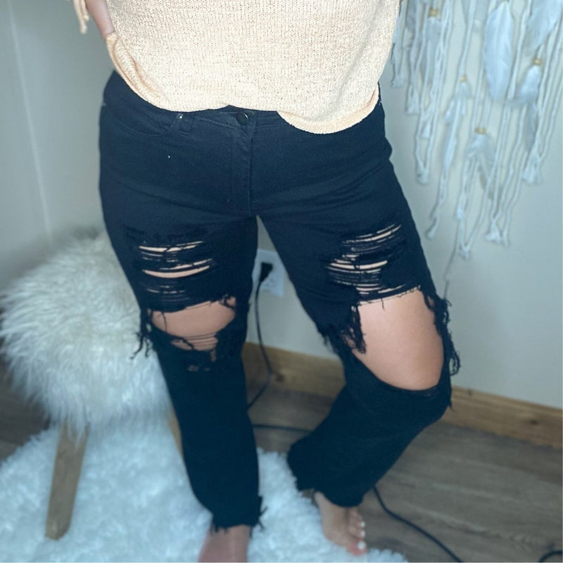 140 Black High Waist Cut Out Skinny Jeans
