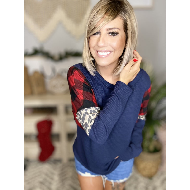 316 Navy Long Sleeve Soft Knit Top w/ Plaid & Leopard Contrast