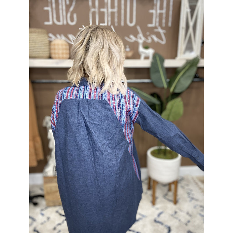 794 Denim Blue Long Sleeve Button Up Top w/Striped Back & Pockets