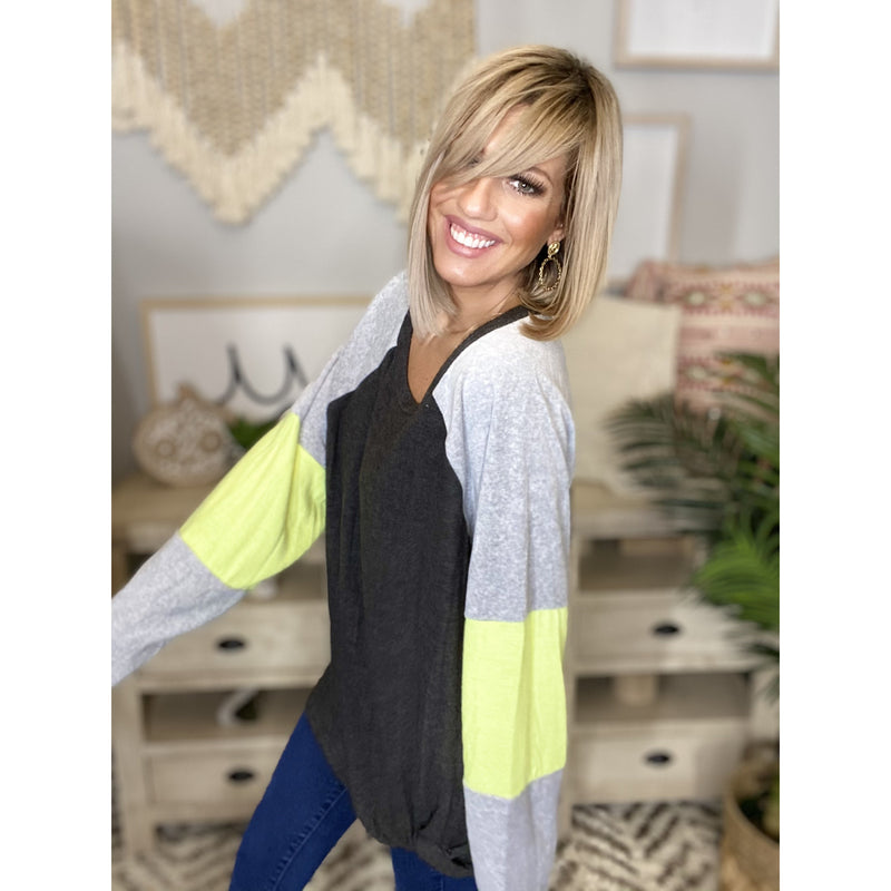 632 Charcoal Color Block Raglan Long Sleeve