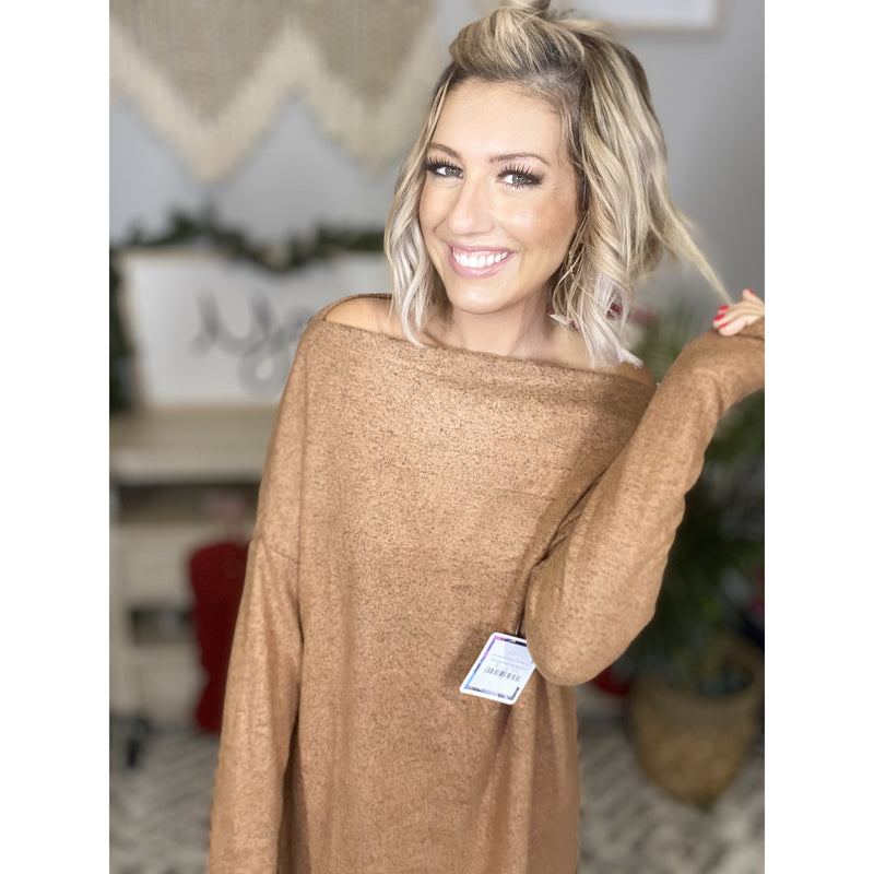 871 Camel Brushed Hacci Wide Neck Top