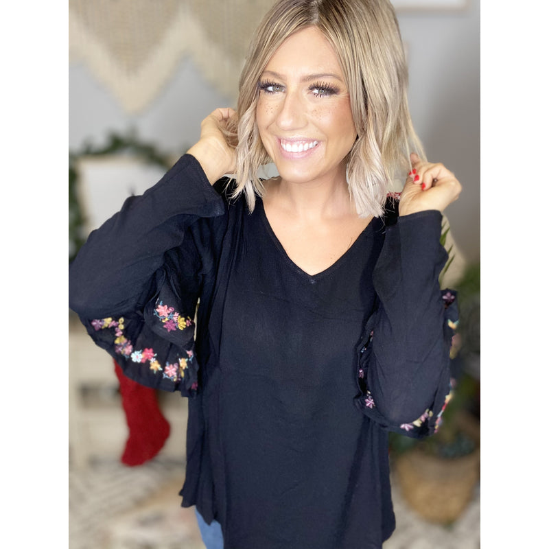 52 Black Wide V Neck Top w/ Cold Shoulder Detail
