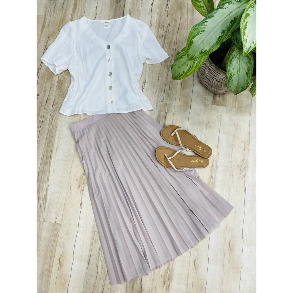 623 Light Lilac Accordion High Wasted Skirt