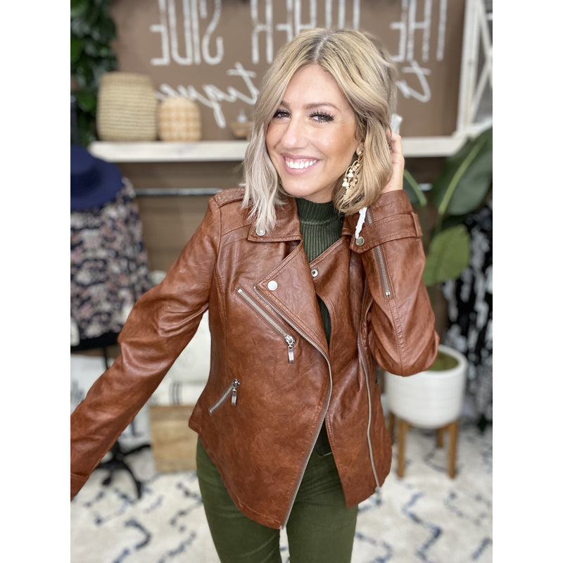 393 Dark Rust Faux Leather Jacket PO