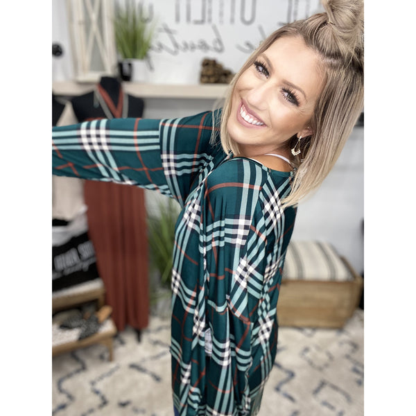 668 Green Plaid Drop Shoulder Top