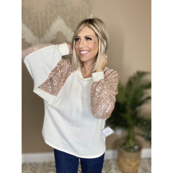 174 Taupe Bubble Sleeve Sequin Top