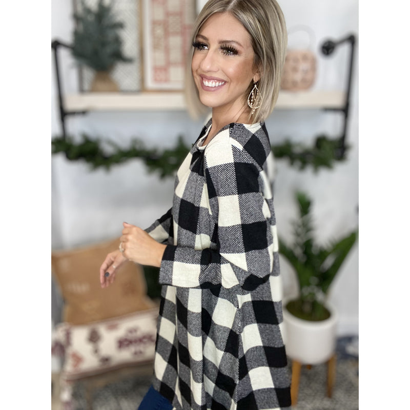 7 Ivory Plaid Printed Swing Tunic Dress