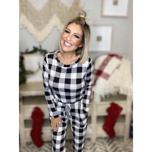 59 Ivory Buffalo Plaid Check Brush Loungewear Set
