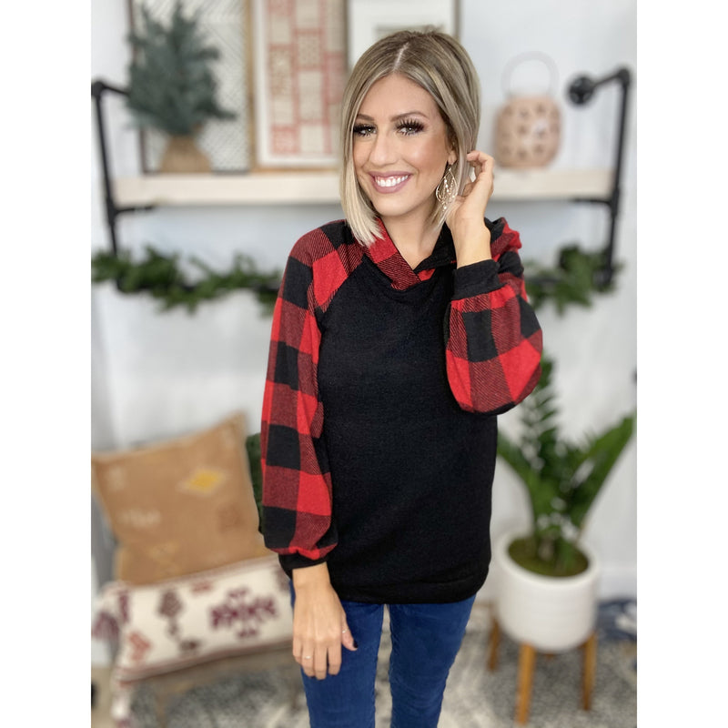218 Black/Red Brushed Plaid Contrast Hoodie w/ Bubble Sleeves