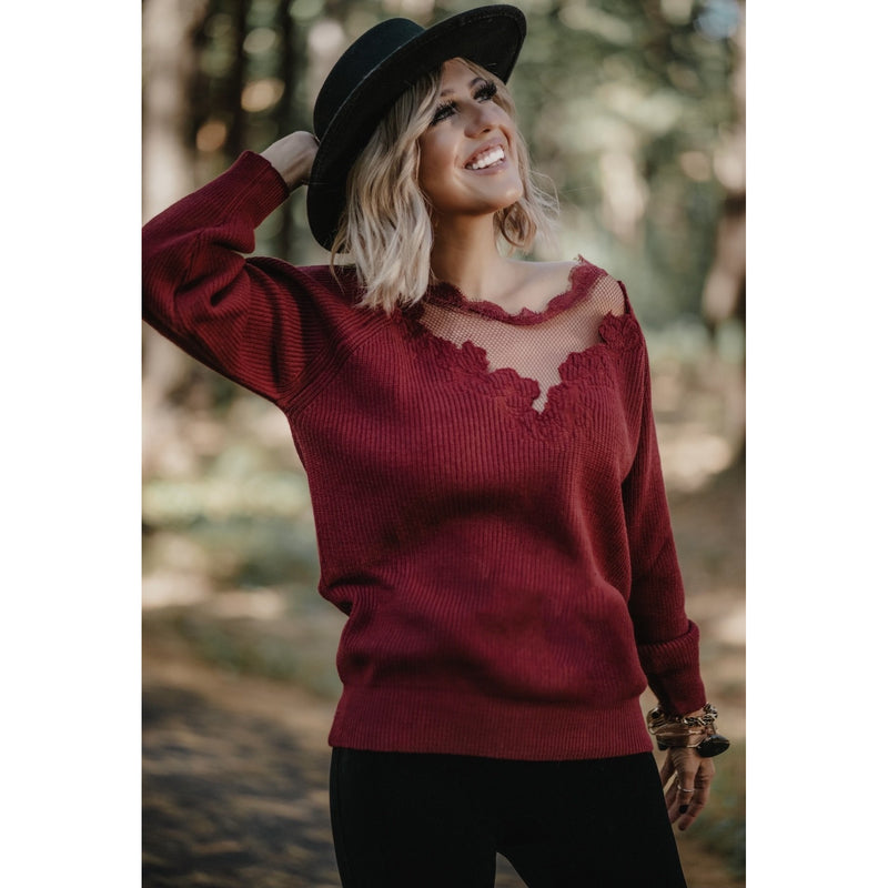 48 Wine Knit Pullover Sweater